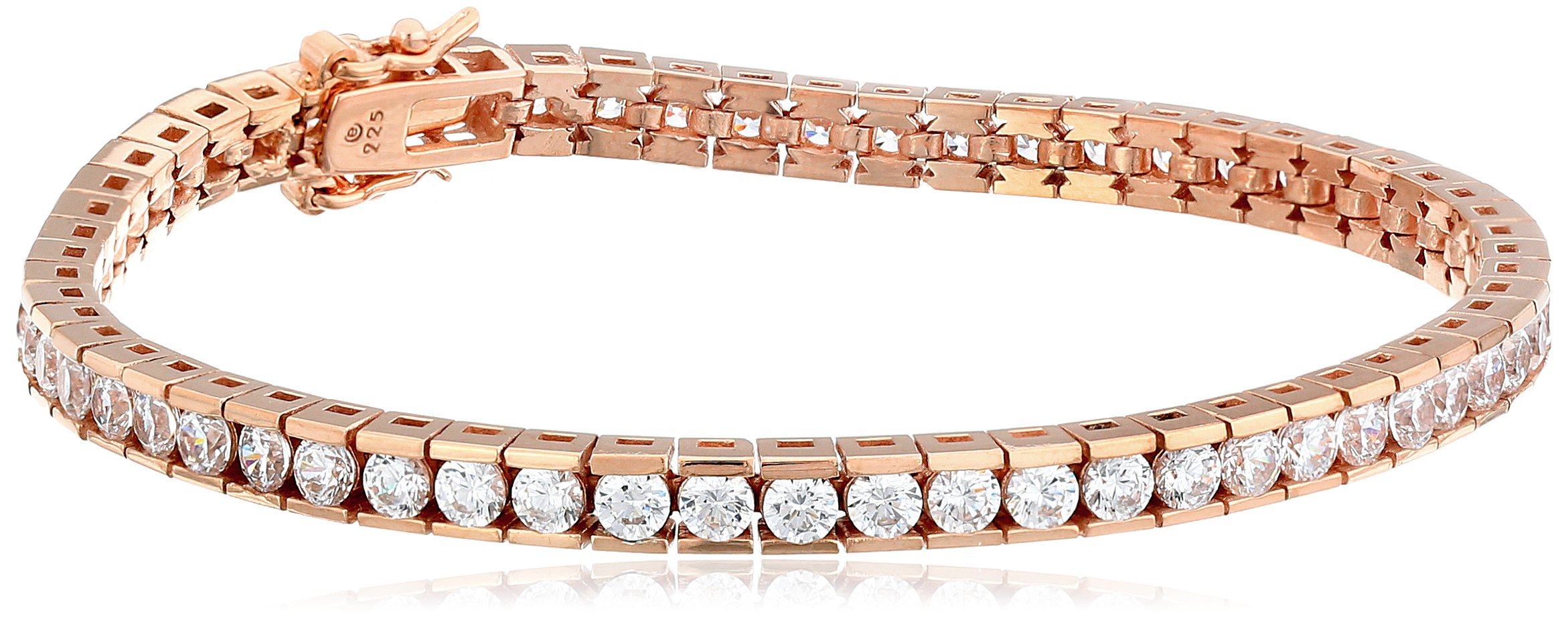 Rose-gold-plated Sterling Silver Swarovski Zirconia Round Tennis Bracelet, 7.25'' by Amazon Collection
