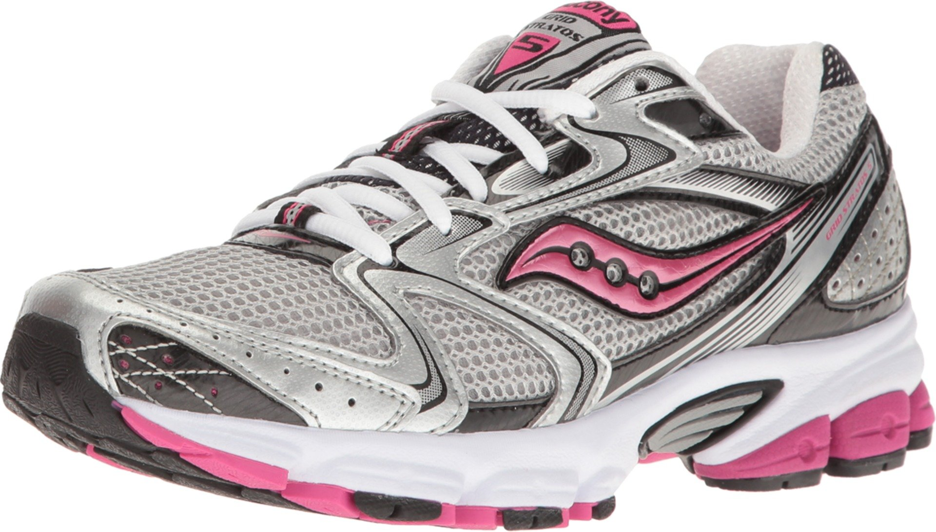 Saucony Women's Grid Stratos 5 Silver/Black/Pink 8.5 B US by Saucony