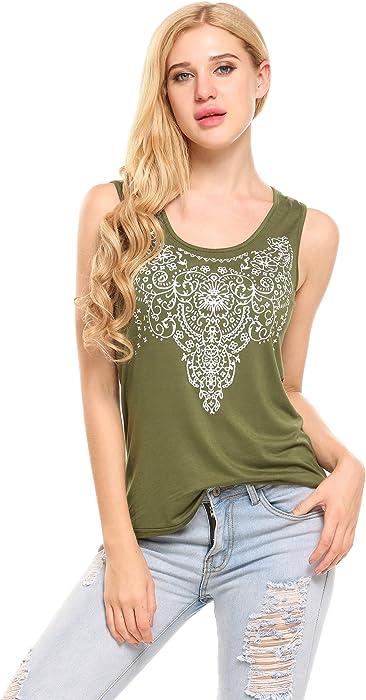 96dfea08 Meaneor Women's Summer Sleeveless Street Printed T Shirt Tank Tops Graphic  Tees ArmyGreen S