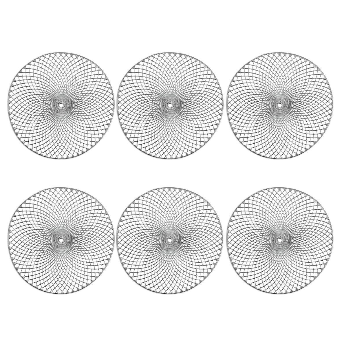 Zeller Lot de 6 Sets de Table Mandala en PVC Argent/é
