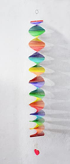 Dorpmarket Wooden Spiral Rainbow Wind Spinner (36cm, Assorted)