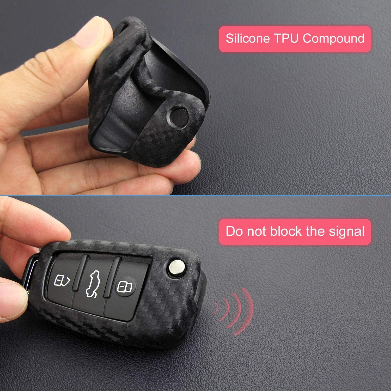 Funda protectora para llave de Audi de fibra de carbono especial de silicona compatible con Audi A3 A1 A3 A6 Q3 Q7 TT TTS R8 S3 S6 RS3 A6L Audi Key Fob Case