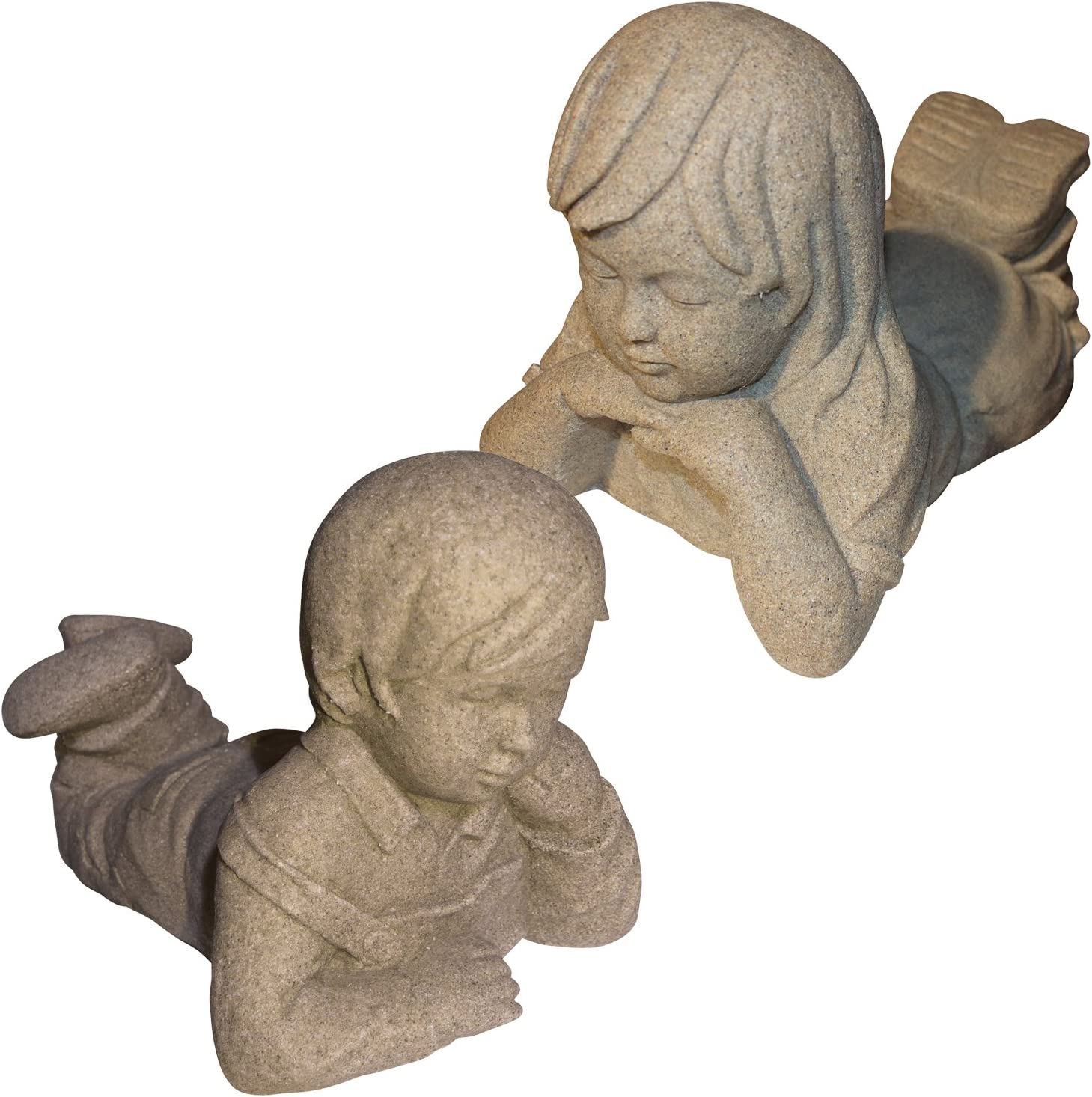 """EMSCO Group Day Dreaming Boy and Girl Statues – Natural Sandstone Appearance – Made of Resin – Lightweight – 11"""" Height"""