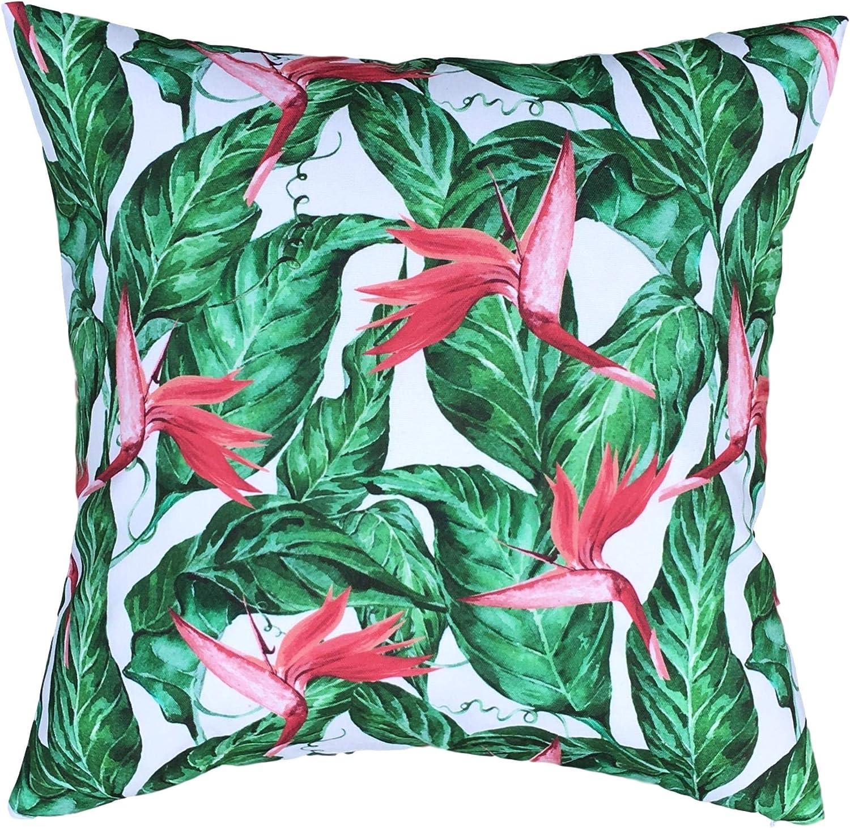 Clara Outdoor Garden Tropical Cushion Covers Waterproof Scatter Indoor Jungle Palm Leaf Rainforest Animal Print Bird Of Paradise Amazon Co Uk Garden Outdoors
