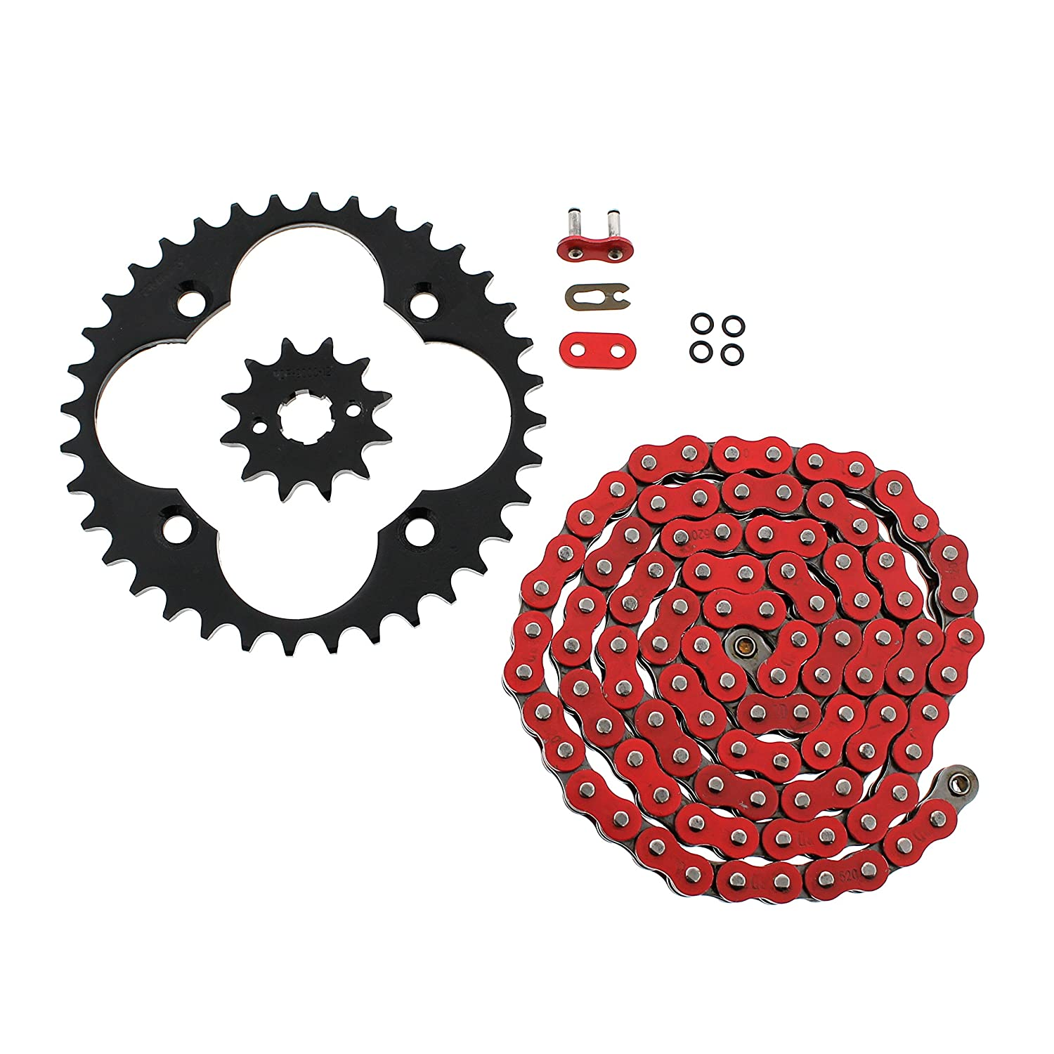 2001-2004 Honda Sportrax 300EX TRX300EX Red O-Ring Chain & Silver Sprocket 12/36 Race-Driven