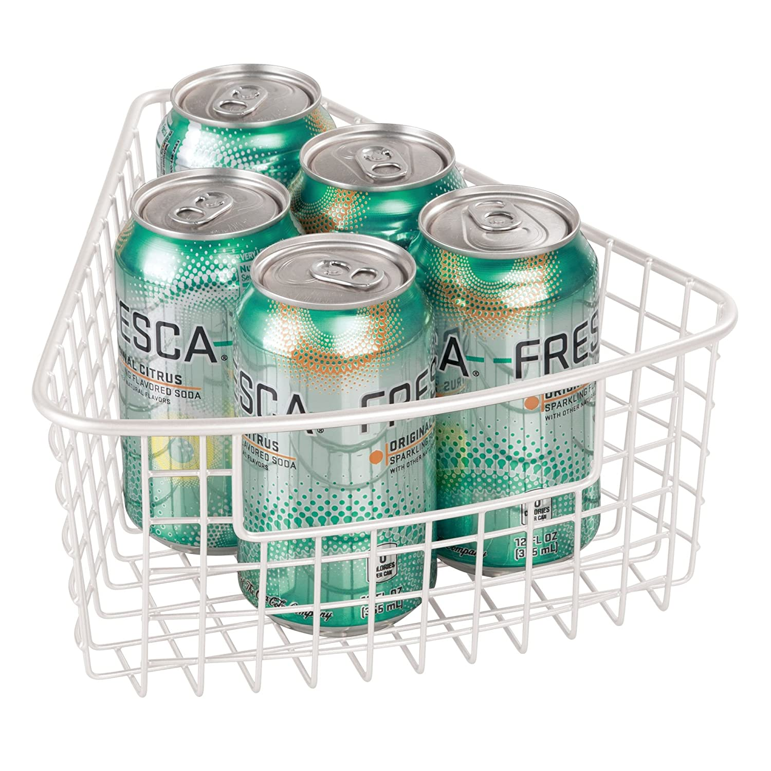 Amazon.com: mDesign Lazy Susan Wire Storage Basket with Handle for ...
