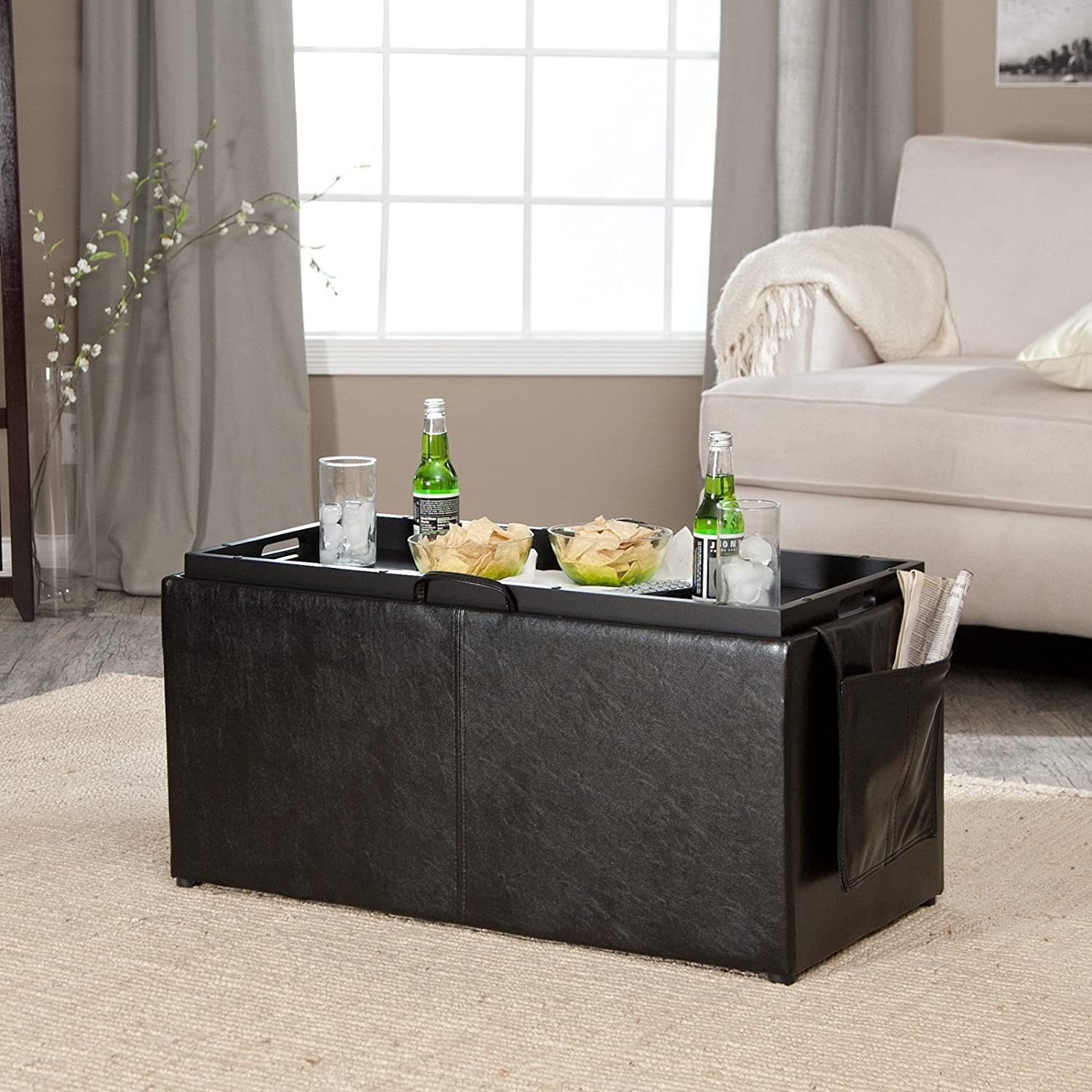 Amazon Hartley Coffee Table Storage Ottoman with Tray Side