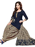 PShopee Women's Cotton Unstitched Salwar Suit (PSBPS4-406_Blue_Free Size)