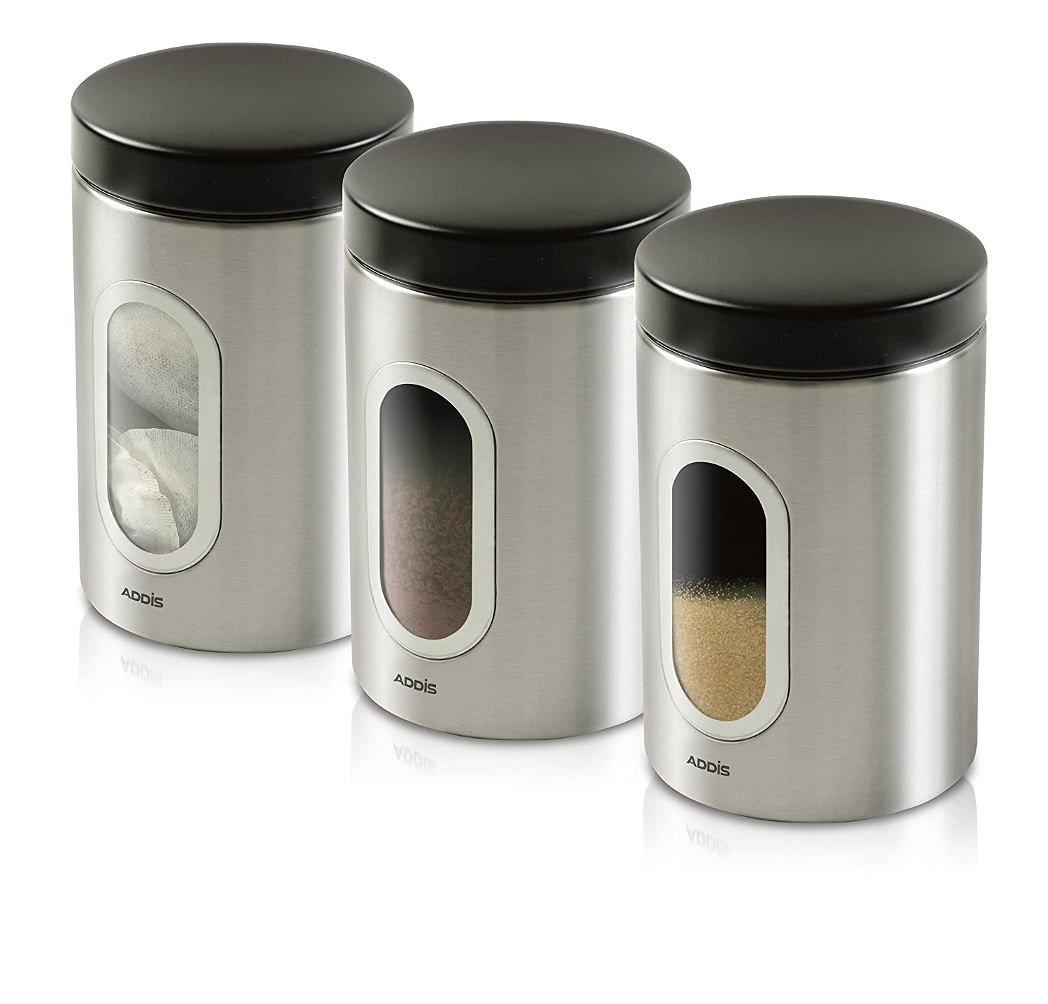 addis deluxe canisters stainless steel pack of 3 amazon co uk addis deluxe canisters stainless steel pack of 3 amazon co uk kitchen home