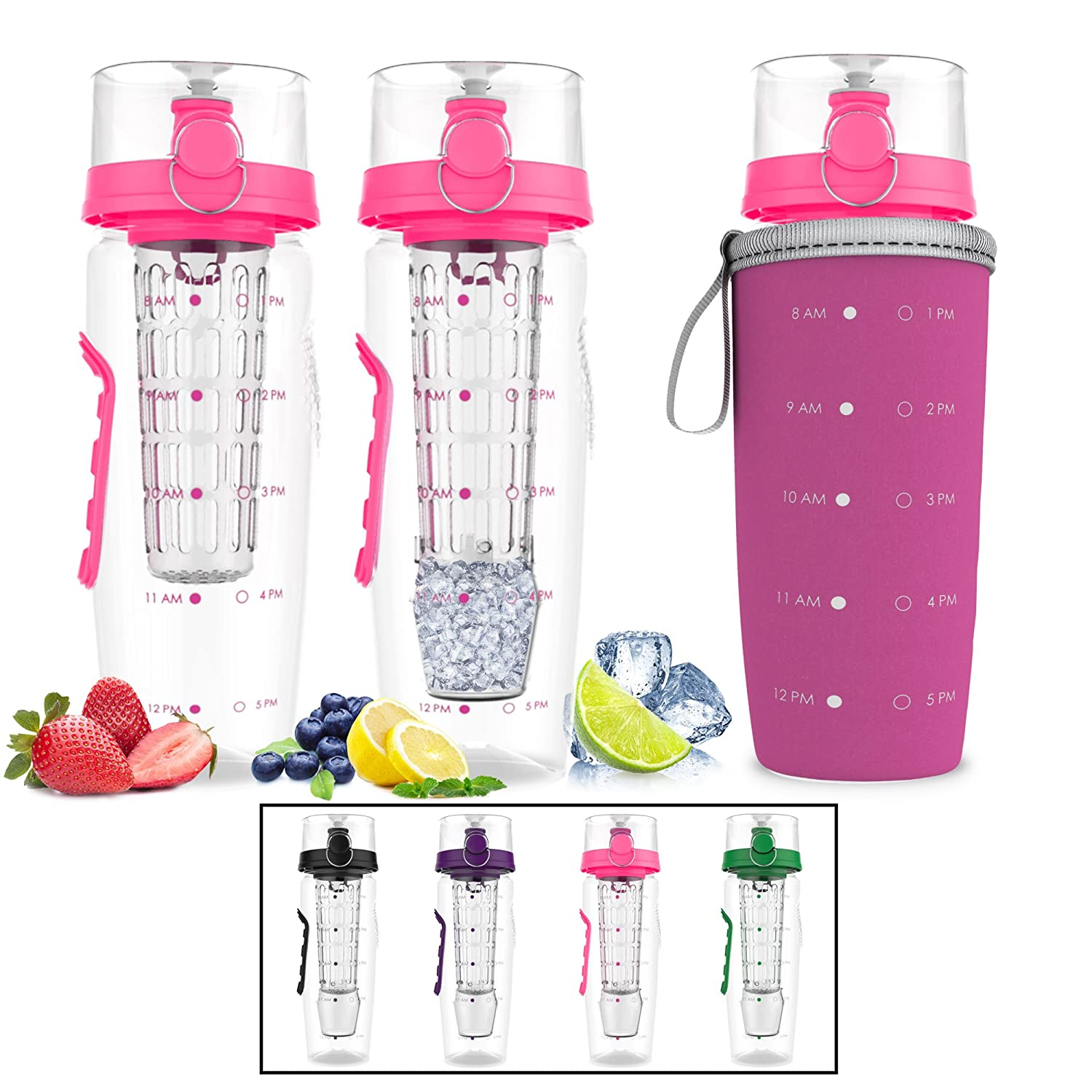 Bevgo 32oz Fruit Infuser Water with Detachable Ice Gel Ball + Recipe Gift