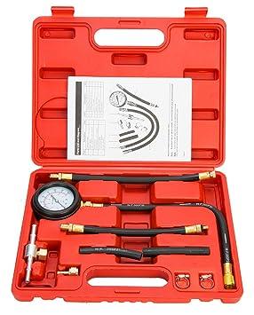 Juego de 9 piezas de FreeTec,con probador de presión de combustible y manómetro de aceite (0-100 PSI): Amazon.es: Coche y moto
