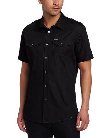 Marc Ecko Cut & Sew Men's Short Sleeve Solid Poplin Military Shirt ...