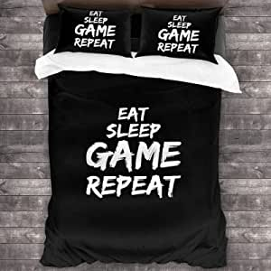 Gift for Your Lovers Quilt King Queen Twin Size Eat Sleep Game Repeat Quilt Birthday Thanksgiving New Year Gifts for Dad Mom Husband Wife Kids Son Daughter
