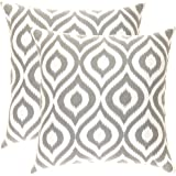TreeWool, Cotton Canvas Ikat Ogee Accent Decorative Throw Pillow Covers (2 Cushion Covers; 20 x 20 Inches; Sleet Grey & White)