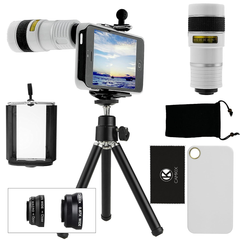 CamKix® 9 Piece Camera Lens Kit for iPhone 5 including 1 White 8x Telephoto Lens / 1 Fish Eye Lens / 1 Macro Lens / 1 Wide Angle Lens / 1 Mini Tripod / 1 White Hard Case / 1 Universal Phone Holder / 1 Velvet Phone Bag / 1 Cleaning Cloth (White) 5V8NG