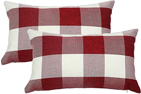 famibay Plaid Throw Pillow Covers Lunbar Tartan Checkers Cotton Linen Pillow Cases Decorative Pillow Cushion Covers for Home Sofa Couch Bed 12x20 Inch Pack of 2