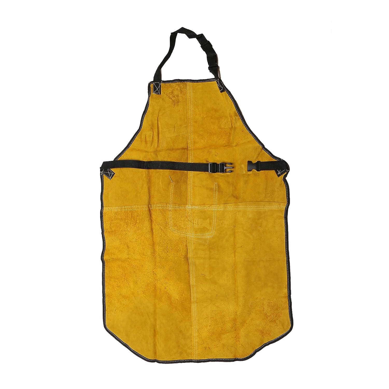 Babimax Delantal de Soldadura de 24x36Pulgadas con Correa Delantal de Cuero Amarillo Superior Split Weld con un Bolsillo: Amazon.es: Hogar