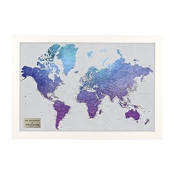 Amazon personalized vibrant violet watercolor world travel map personalized vibrant violet watercolor world travel map with textured white frame gumiabroncs Images