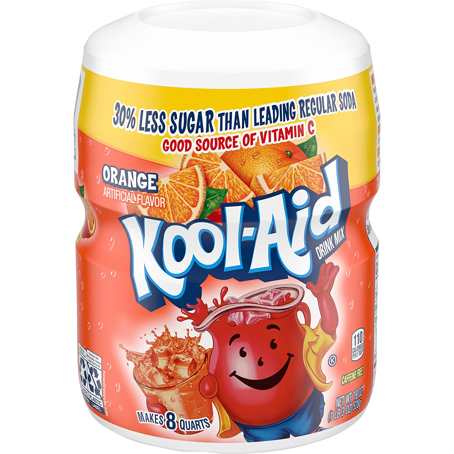Kool-Aid Orange Flavored Powdered Drink Mix (19 oz Canisters, 1.18 Pound (Pack of 12)