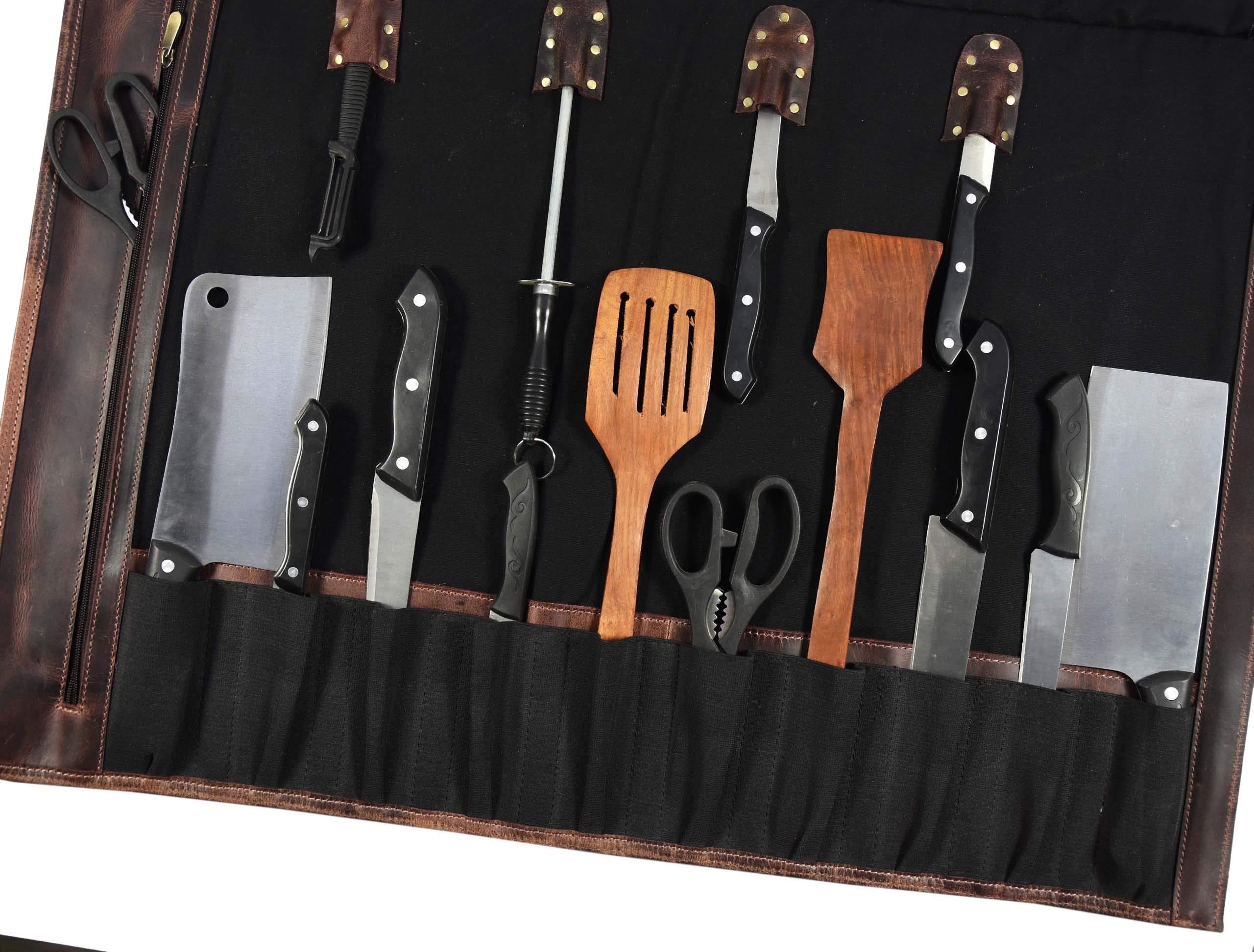 Leather Knife Roll Storage Bag   Elastic and Expandable 10 Pockets   Adjustable/Detachable Shoulder Strap   Travel-Friendly Chef Knife Case Roll By Aaron Leather (Raven, Canvas) by AARON LEATHER GOODS VENDIMIA ESTILO (Image #5)