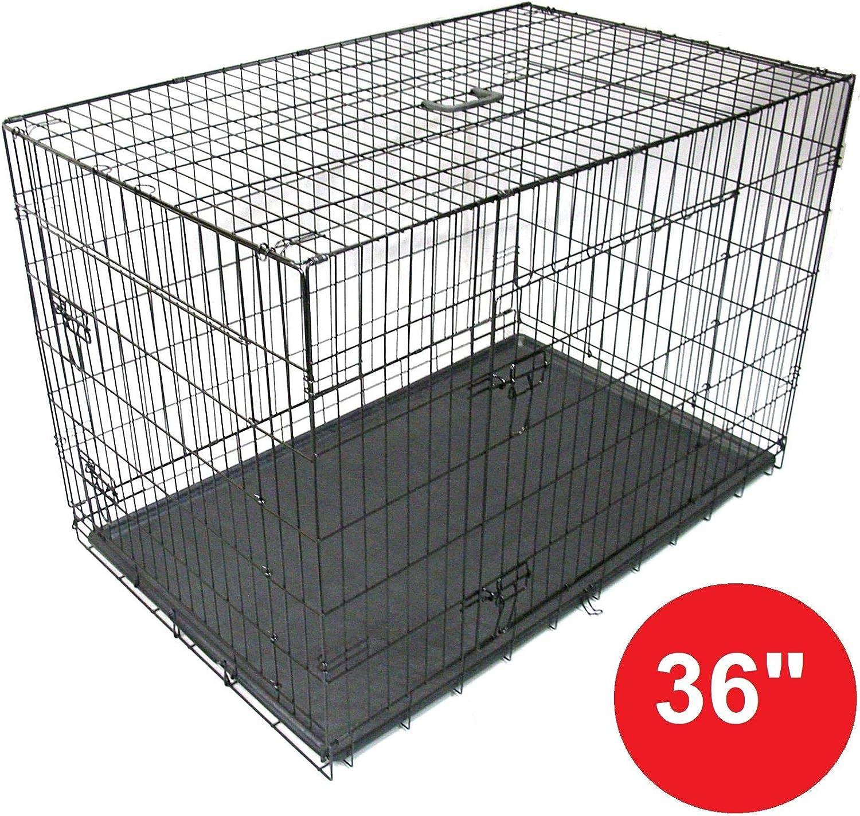 Jaula de Mascota Perro Gato Cachorro Entrenamiento Cajón Plegable Transporte de Animales de metal de 36 pulgadas