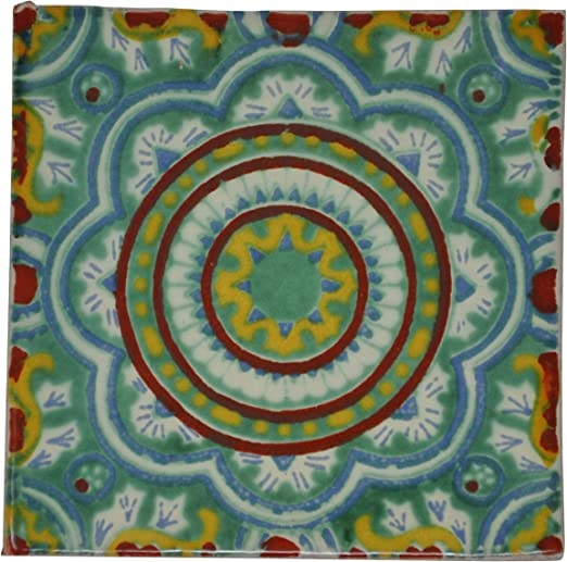 Pack de 10 Azulejos Mexicanos Artesanales de Talavera de 10.5cm