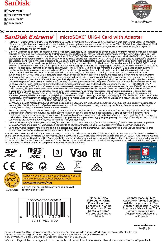 U3 SDSQXA1-1T00-GN6MA 4K UHD SanDisk 1TB Extreme MicroSDXC UHS-I Memory Card with Adapter Micro SD A2 V30