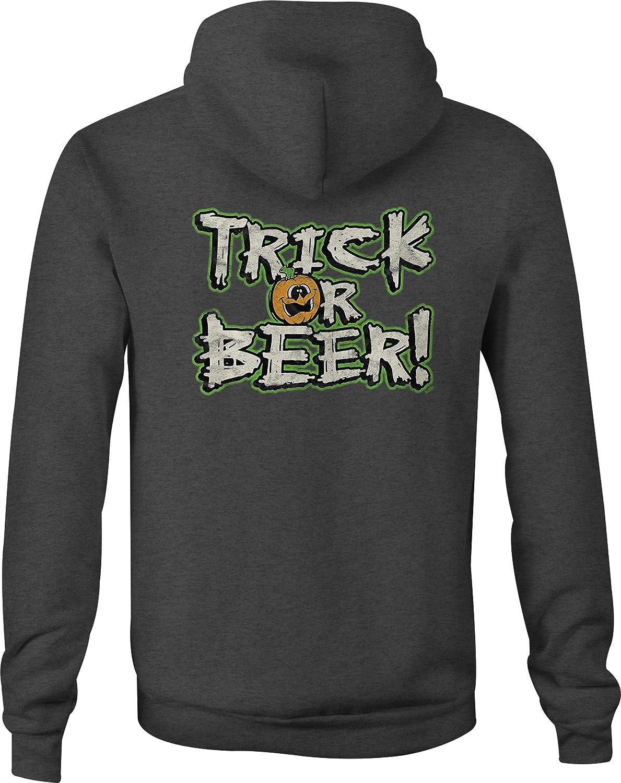Zip Up Hoodie Trick of Beer Halloween Hooded Sweatshirt for Men
