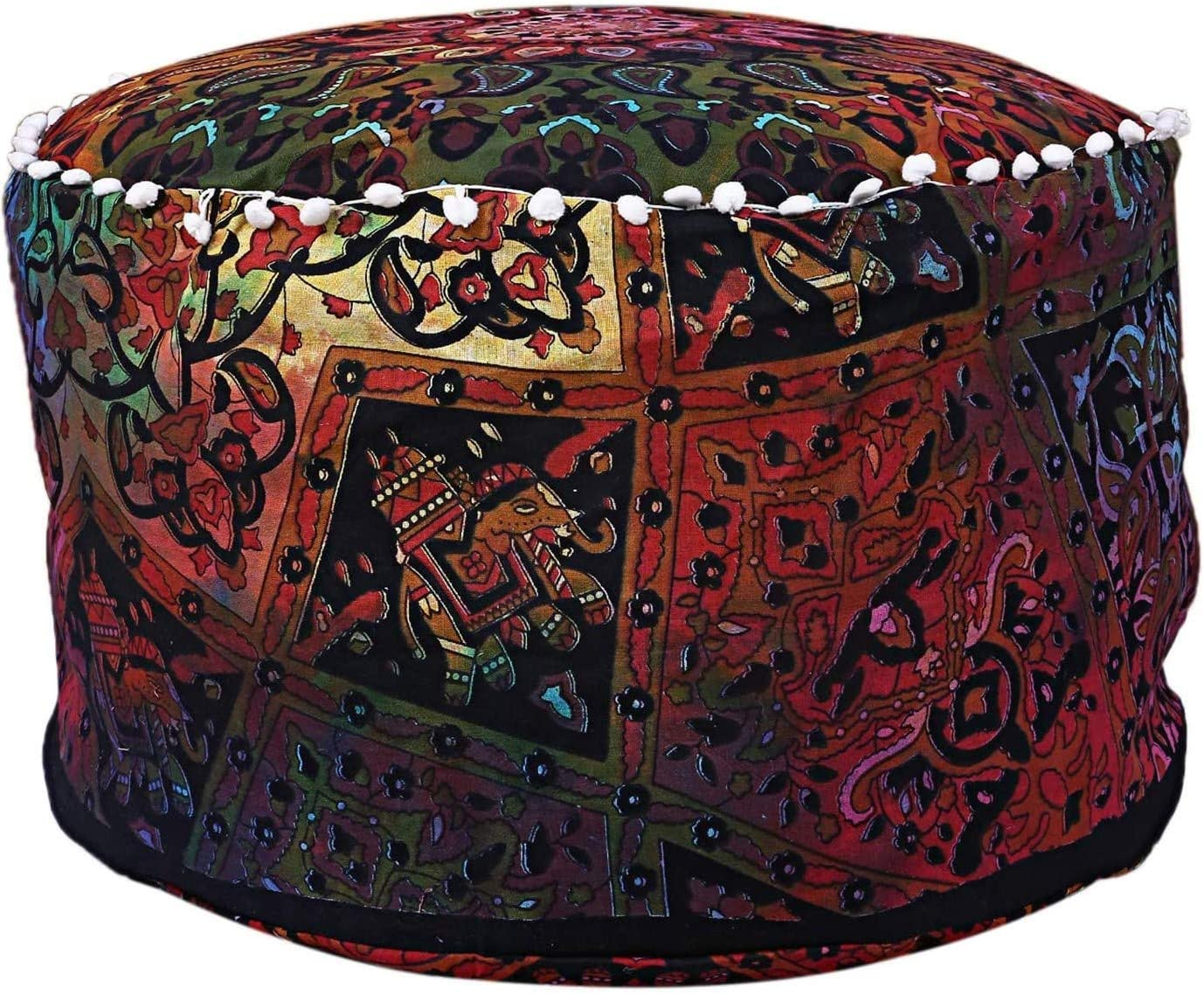 Indian Mandala Pouf Ottoman Cotton Floor Pillow Hippie Boho Decorative Home Decor Footstool Cover Bohemian (Multi)