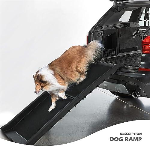 Folding Dog Ramp Large Portable Lightweight Dog and Cat Ramp Car Trunk Ladder Pet Collapsible Ramp Up to 150 lb