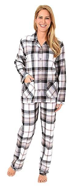NORMANN WÄSCHEFABRIK Damen Flanell Pyjama Schlafanzug in edlen Karodesign - –auch in Übergrössen 201 95 243