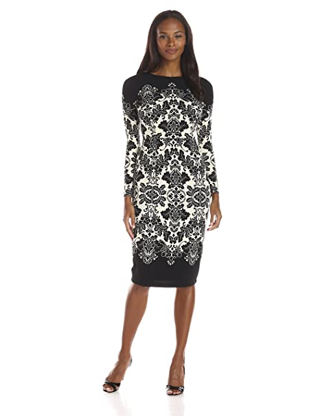 607cfd0b Maggy London Women's Border Print Matte Jersey Long Sleeve Sheath Dress,  Black/Ivory,