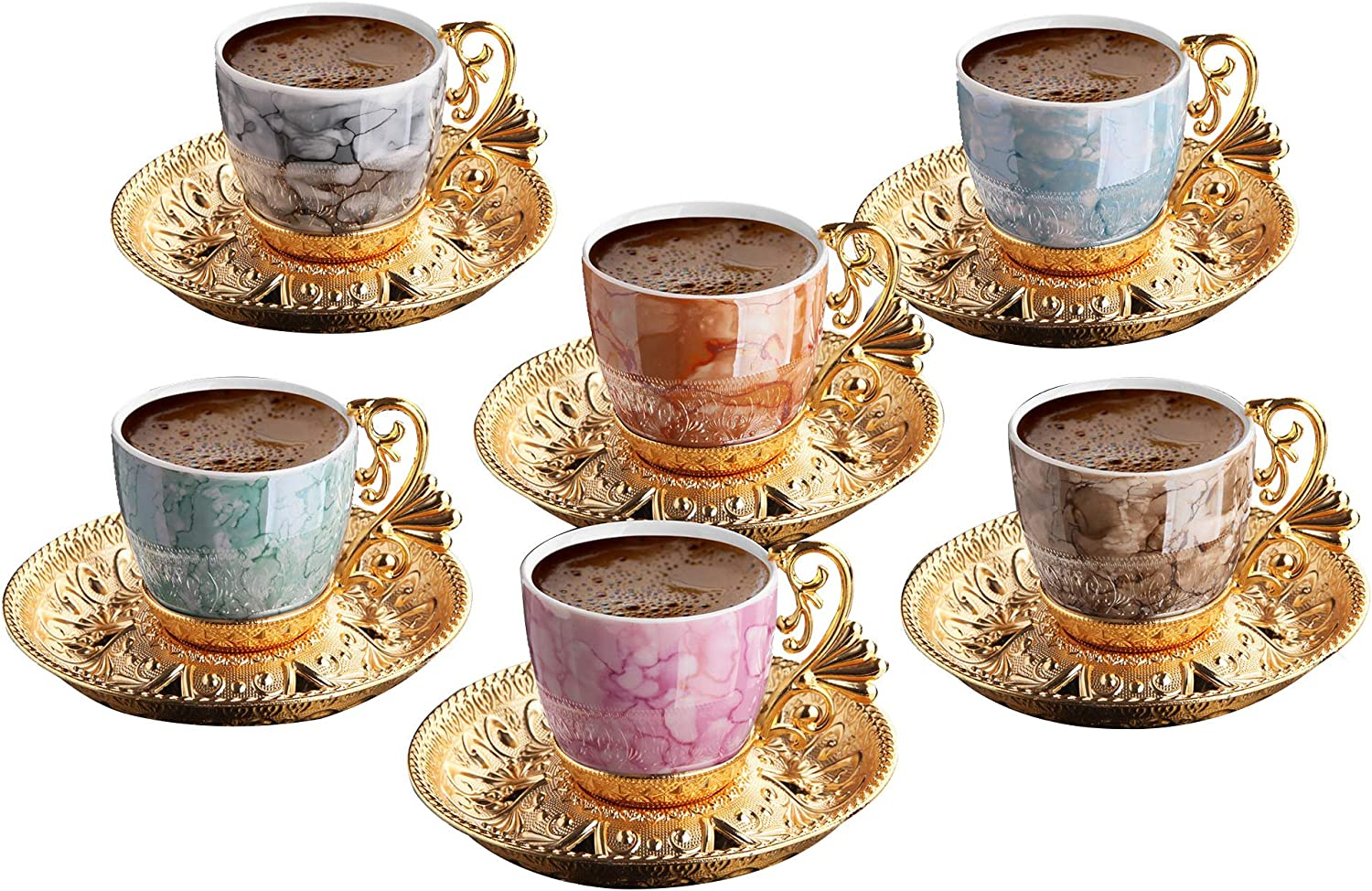 (Set of 6) Demmex Turkish Greek Arabic Coffee Espresso Demitasse Cup Saucer Spoon Set, Black Cups (Gold)