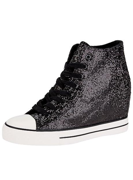 oodji Ultra Mujer Zapatillas de Cuña con Punta de Goma y Pedrería, Negro, 39 EU / 6 UK: Amazon.es: Zapatos y complementos