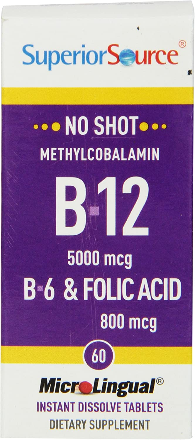 Superior Source No Shot Methylcobalamin Vitamin B12 B6 Folic Acid Tablets, 5000 mcg 800 mcg, 60 Count