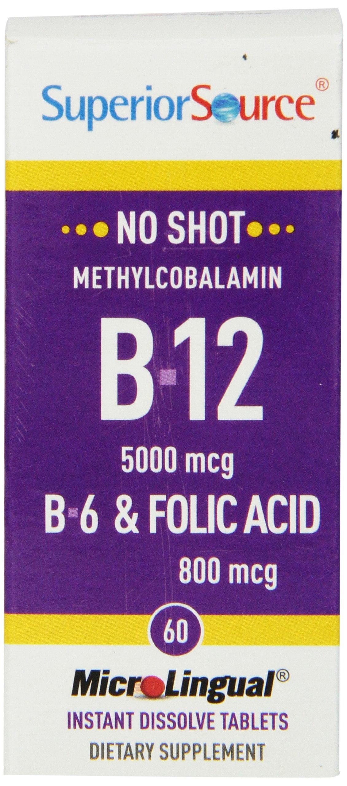 Superior Source No Shot Methylcobalamin Vitamin B12/B6/Folic Acid Tablets, 5000 mcg/800 mcg, 60 Count