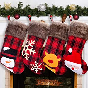 UMIKU Christmas Stockings 4 Pack Large Personalized Christmas Stockings Christmas Decorations with Snowflake Santa Snowman Reindeer Style Stockings for Fireplace Xmas Tree Family Holiday Party Décor
