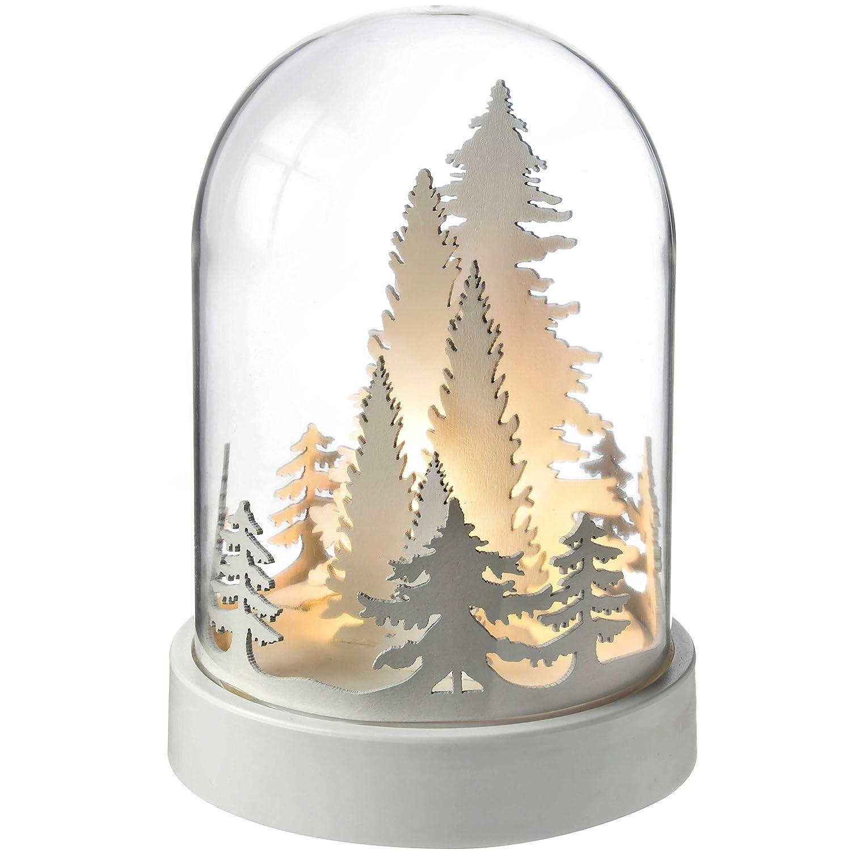 WeRChristmas, Campana con casa in Legno, Pre-illuminata con Calde luci LED, Decorazione Natalizia, Legno, White, 12.5 x 12.5 x 18.2 cm WRC-7440