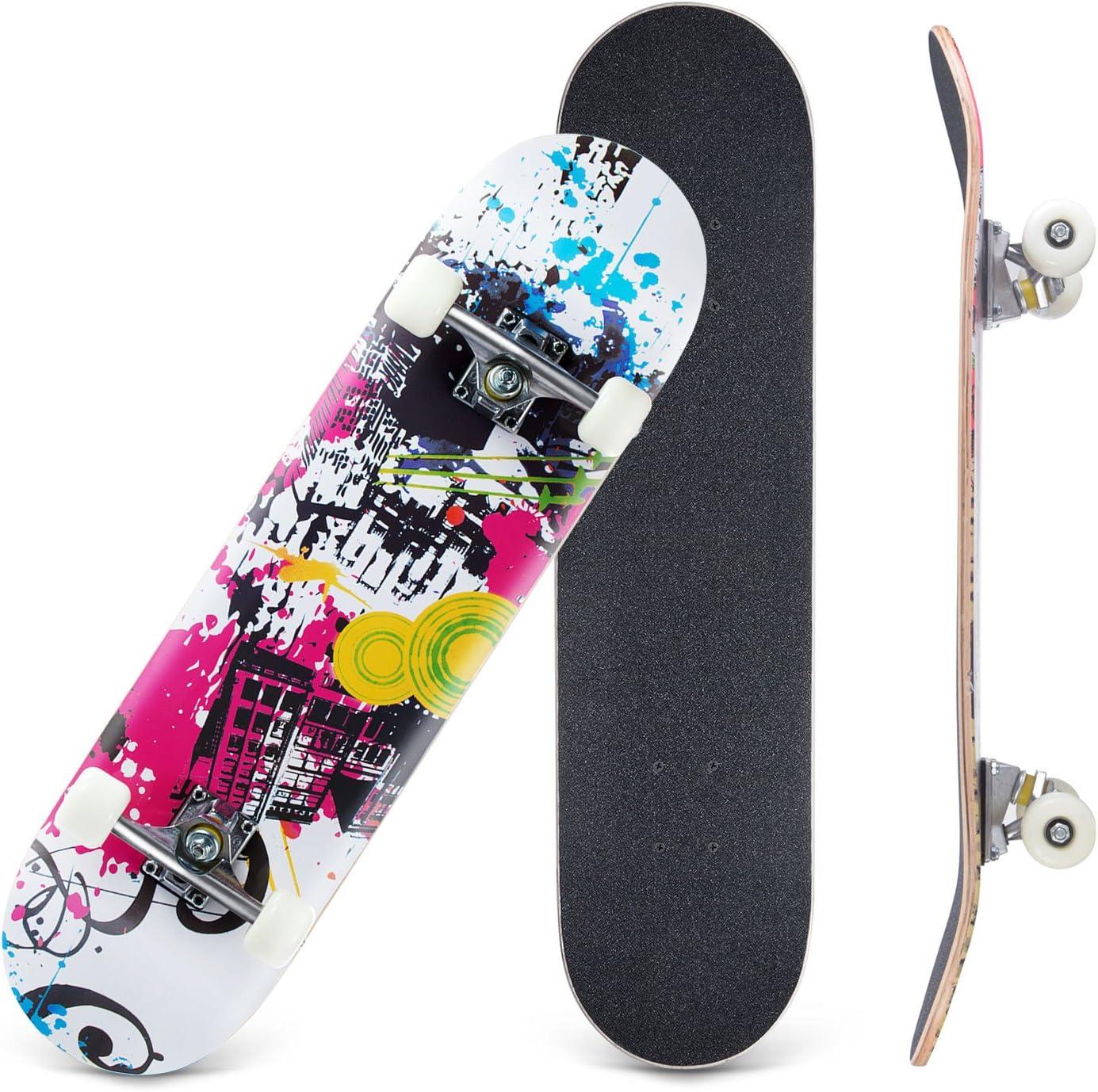 Karriw Skateboard 31 Inch Complete Standard Skateboard 8 Layer Maple Skateboard Deck with Sports Outdoors Durable Skate Board for Kids Beginners
