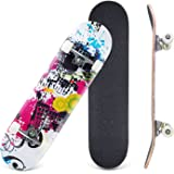 """CCTRO Skateboards 31"""" Pro Skateboard Complete, 8 Layer Maple Skateboard Deck for Extreme Sports and Outdoors, Tricks Skate Board for Beginners and Pro"""
