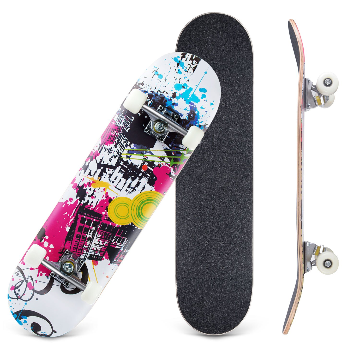 CCTRO Skateboards 31'' Pro Skateboard Complete, 8 Layer Maple Skateboard Deck for Extreme Sports and Outdoors, Tricks Skate Board for Beginners and Pro (City charming)