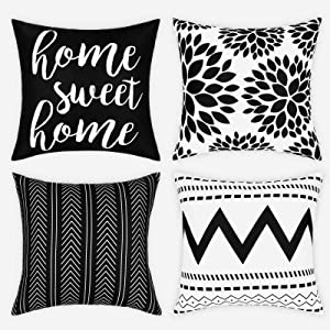 Yastouay Modern Decorative Throw Pillow Covers Home Sweet Home Cushion Covers Set of 4 Geometric Pillowcases for Couch Sofa Bedroom (Black, 18