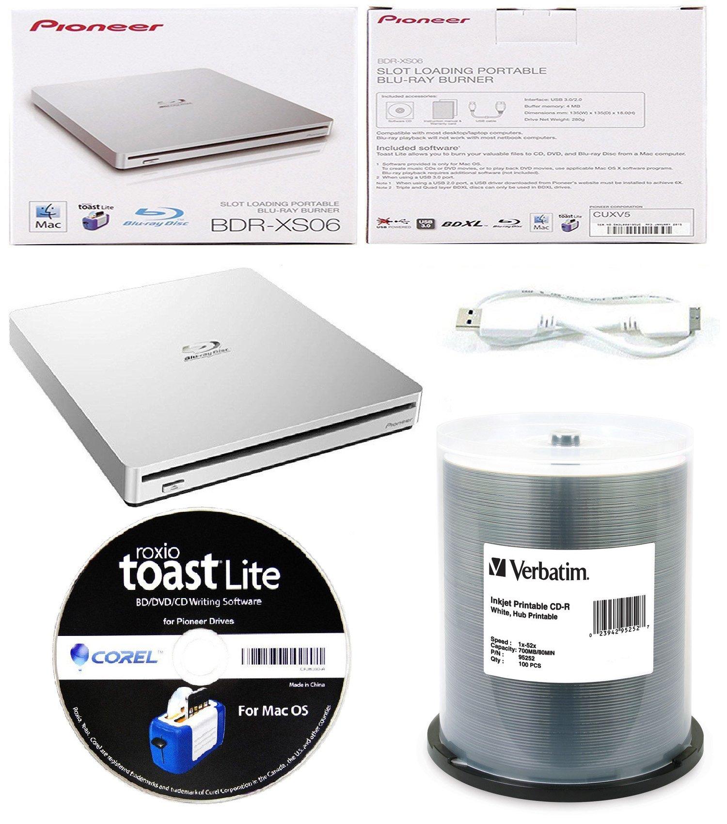 Pioneer 6x BDR-XS06 Slim Slot Portable External Blu-ray BDXL Burner, Roxio Toast Lite Software and USB Cable Bundle with 100pk CD-R Verbatim 700MB 52X DataLifePlus White Inkjet, Hub Printable