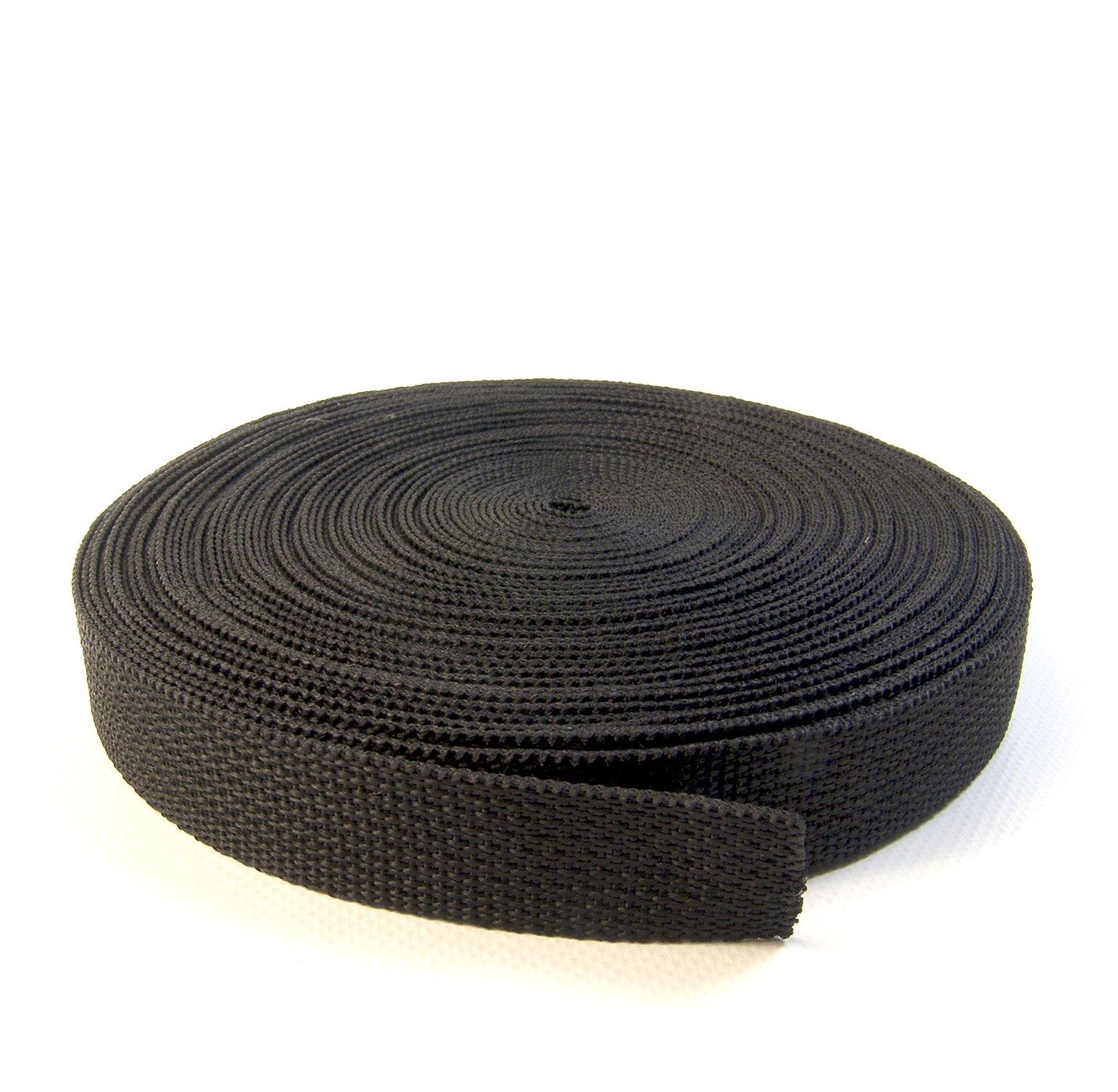 Webbing, 1'' Inch Polypropylene, 10 Yards (30 Ft.) (Black)