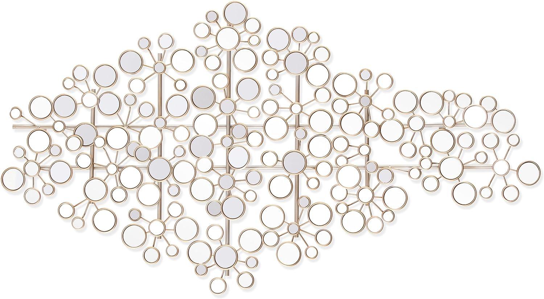 SEI Furniture Oblishen Mirrored Metal Wall Sculpture - Art Deco Mirror - Hanging Art w/Metallic Finish