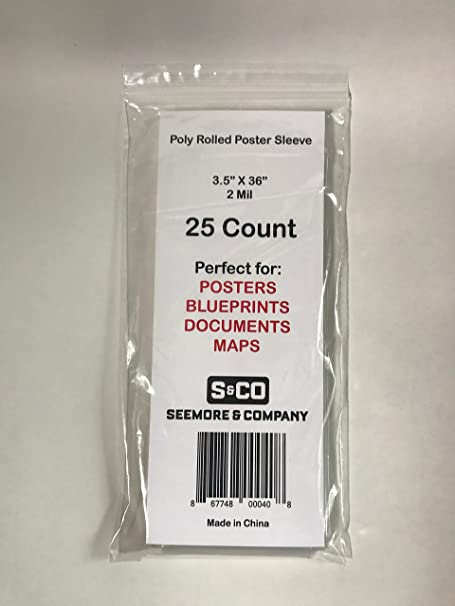 """Poly Bags  2 mil for Blue Prints Maps Posters Art  3/"""" x 36/""""  25ct"""