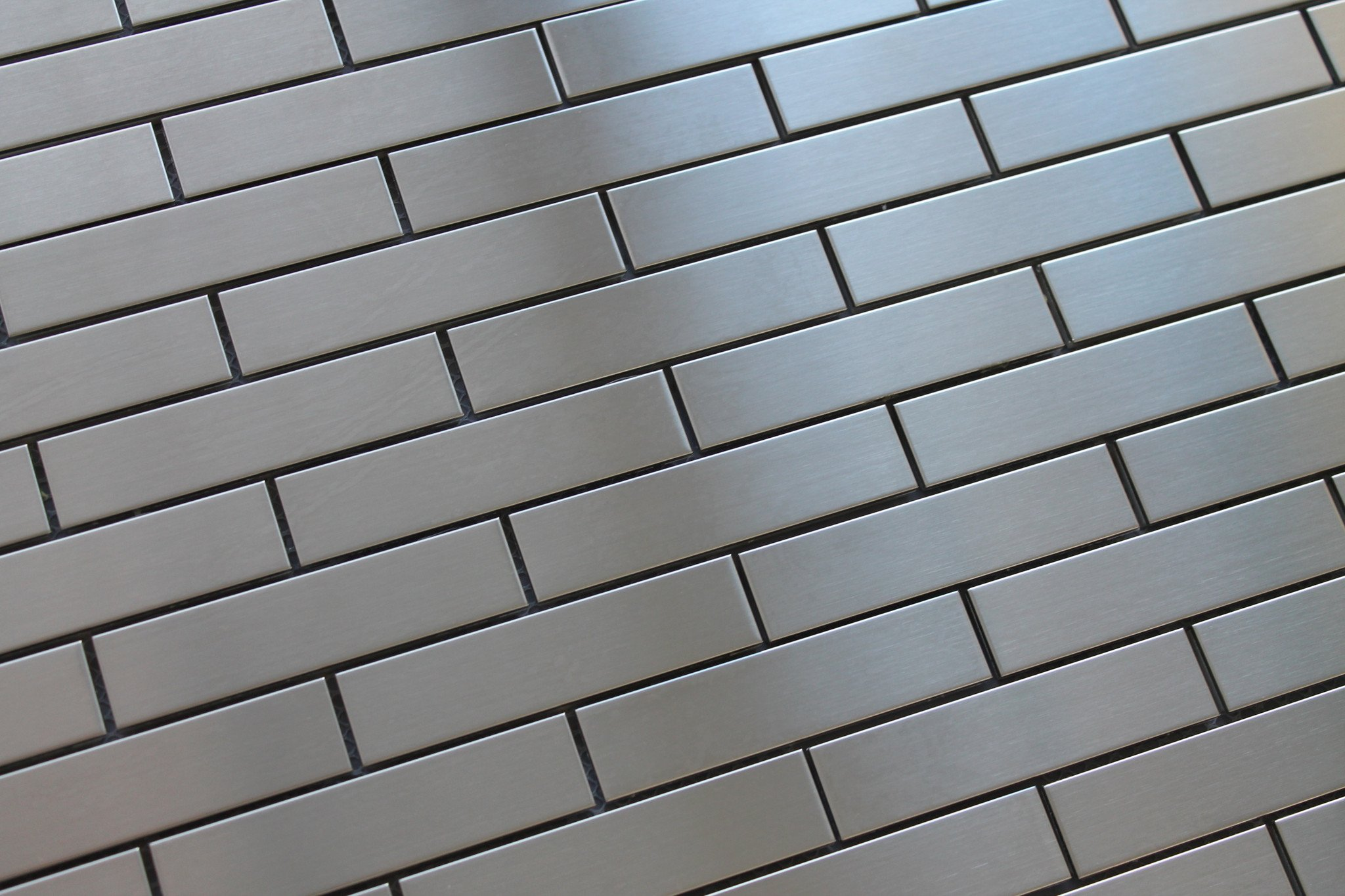 10 Square Feet - Stainless Steel 1x4 Brick Mosaic Tiles