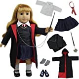 ZITA ELEMENT 8 Pcs Doll Clothes Hermione Granger Hogwarts-Like School Uniform with Cloak Shoes Outfits for American Girl Doll and Other 18 Inch Doll
