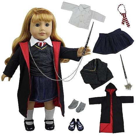 ZITA ELEMENT 8 Piezas Magic escuela Uniform ropa muneca para 18 pulgadas muñecas American Girl y