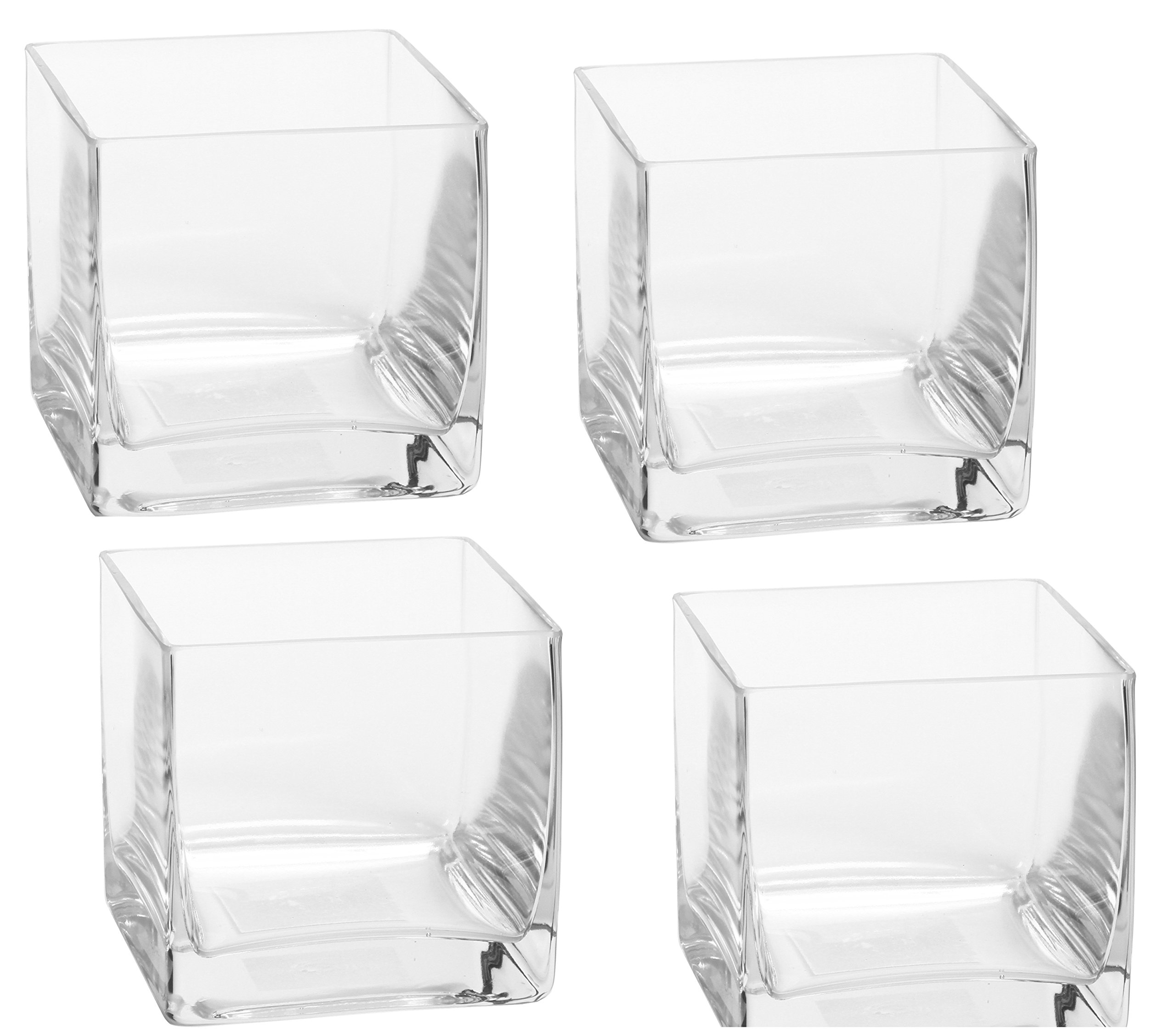 Hosley Set of 4 Glass Vases/Cubes - 3.94'' Square - Ideal Gift for Weddings, Spa, Aromatherapy. Flower Arrangements, Bowl for Orbs, DIY, Craft Projects, LED Votive Candle Gardens O7